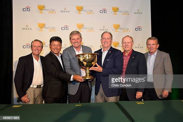 Gary Player of South Africa KJ Choi of South Korea Nick Price of Zimbabwe Jay Haas Jack Nicklaus and PGA Commissioner Tim Finchem pose during a press...
