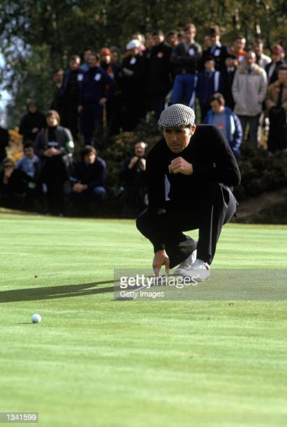 Gary Player of South Africa lines up a putt during the Piccadilly World Match Play at Wentworth Golf Club in Surrey, England in 1974.