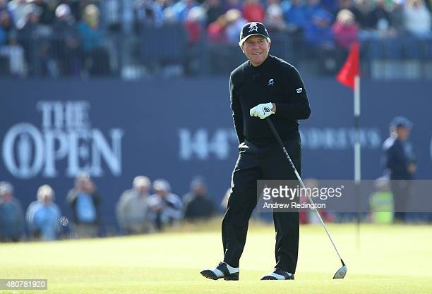 Gary Player of South Africa looks on from the 18th tee during the Champion Golfers' Challenge ahead of the 144th Open Championship at The Old Course...