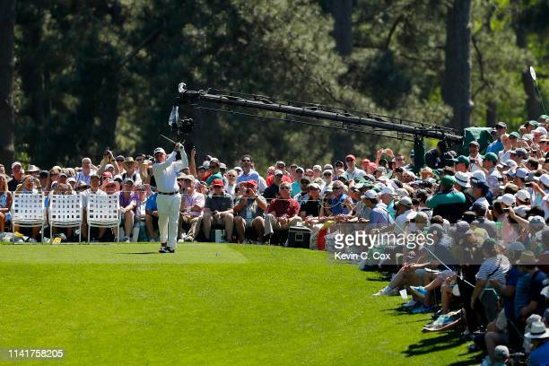 Gary Player of South Africa plays a shot during the Par 3 Contest prior to the Masters at Augusta National Golf Club on April 10 2019 in Augusta...