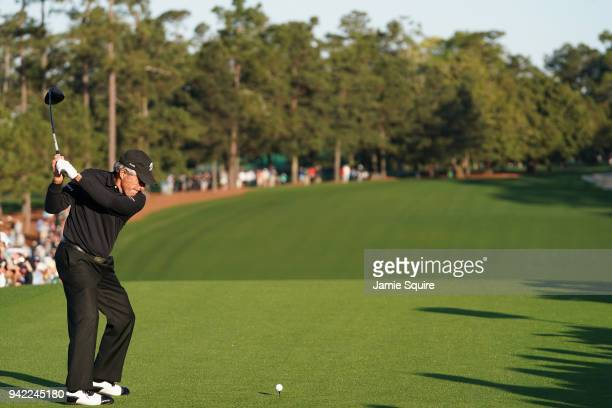 Gary Player of South Africa plays his shot from the first tee during the opening tee ceremony for the first round of the 2018 Masters Tournament at...