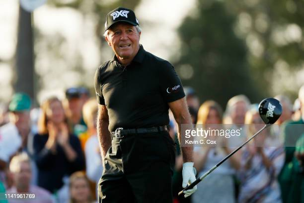 Gary Player of South Africa reacts to his shot from the first tee during the First Tee ceremony to start the first round of the Masters at Augusta...