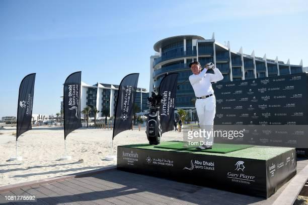 Gary Player of South Africa takes a tee shot at the Jumeirah at Saadiyat Island Resort ahead of the Gary Player Invitational 2019 on January 13, 2019...