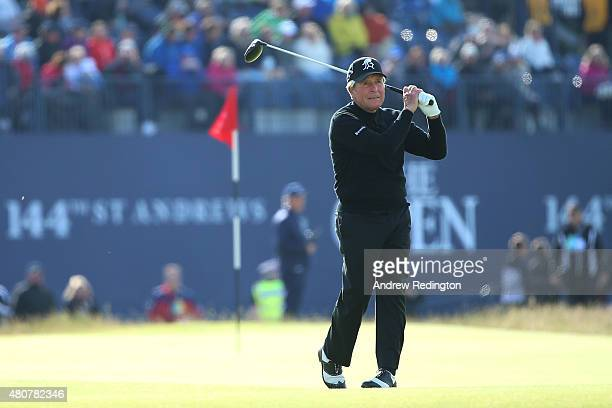 Gary Player of South Africa tees off on the 18th during the Champion Golfers' Challenge ahead of the 144th Open Championship at The Old Course on...