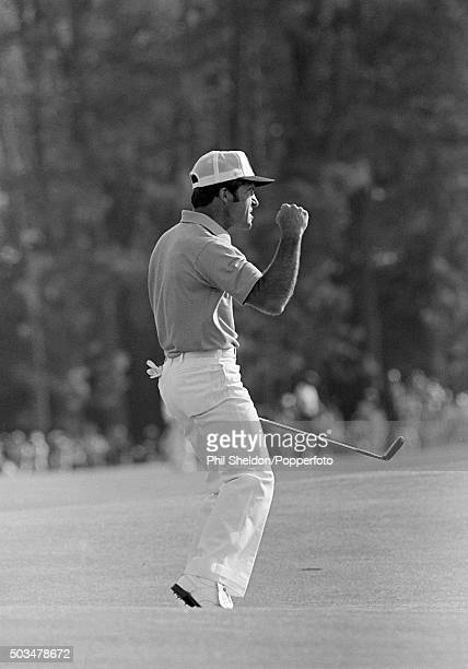 Gary Player of the South Africa reacts after making the winning putt at the US Masters Golf Tournament held at the Augusta National Golf Club in...
