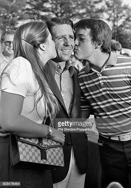 Gary Player of the South Africa with his son Wayne and daughter Jennifer after winning the US Masters Golf Tournament held at the Augusta National...