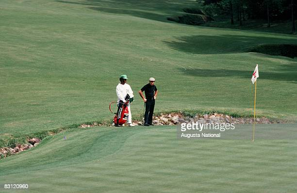 Gary Player on the 13th green during the 1974 Masters Tournament at Augusta National Golf Club in April in Augusta Georgia