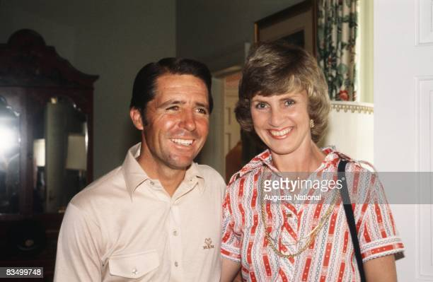 Gary Player poses with Barbara Nicklaus in the Clubhouse during the 1978 Masters Tournament at Augusta National Golf Club in April 1978 in Augusta...