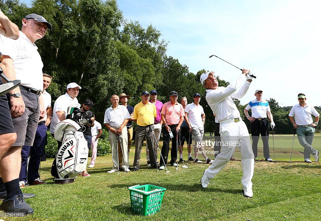 Gary Player runs a golf clinic ahead of the Gary Player Invitational Europe 2013 at Wentworth Golf Club on July 22, 2013 in Virginia Water, England.