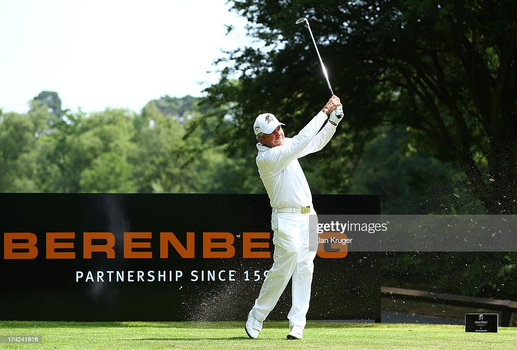 Gary Player tees off during the Gary Player Invitational Europe 2013 at Wentworth Golf Club on July 22, 2013 in Virginia Water, England.