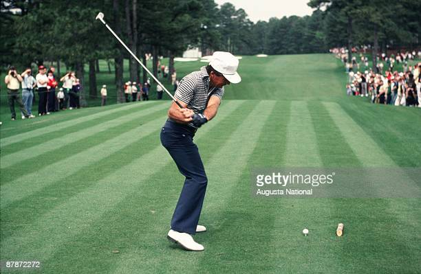 Gary Player tees off on the 3rd hole during the 1983 Masters Tournament at Augusta National Golf Club in April 1983 in Augusta Georgia