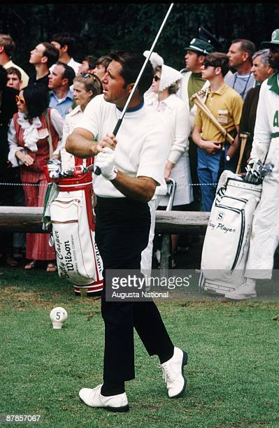 Gary Player watches his tee shot on the fifth hole during the 1970 Masters Tournament at Augusta National Golf Club in April 1970 in Augusta, Georgia.