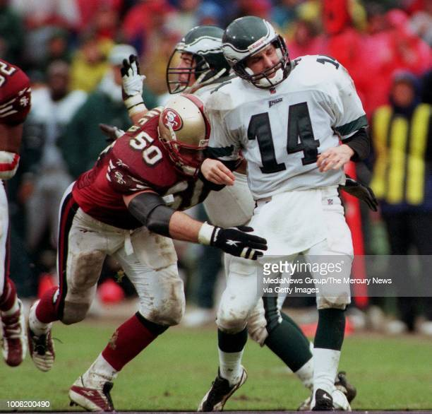Gary Plummer and the 49ers keep the pressure on Ty Detmer in the first half They knocked the quarterback out of the game in the second [961230 SP 4D...
