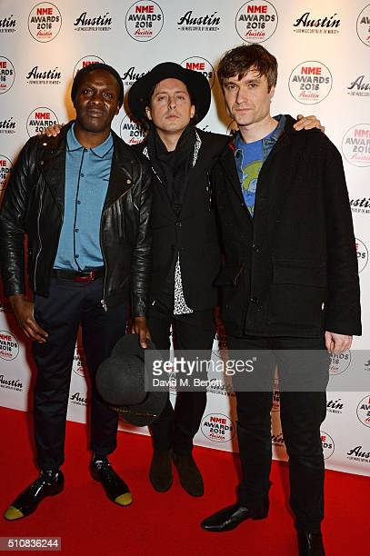 Gary Powell Carl Barat and John Hassall of The Libertine attend the NME Awards with Austin Texas at the O2 Academy Brixton on February 17 2016 in...