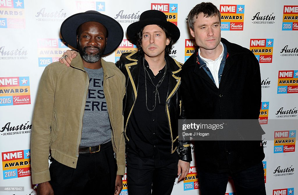 Gary Powell, Carl Barat and John Hassall of The Libertines attend the NME Awards at Brixton Academy on February 18, 2015 in London, England.
