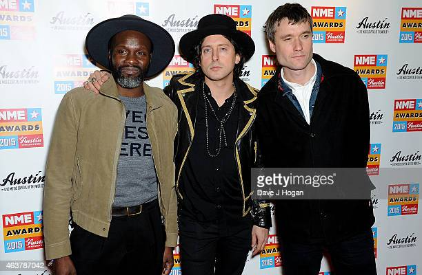 Gary Powell Carl Barat and John Hassall of The Libertines attend the NME Awards at Brixton Academy on February 18 2015 in London England