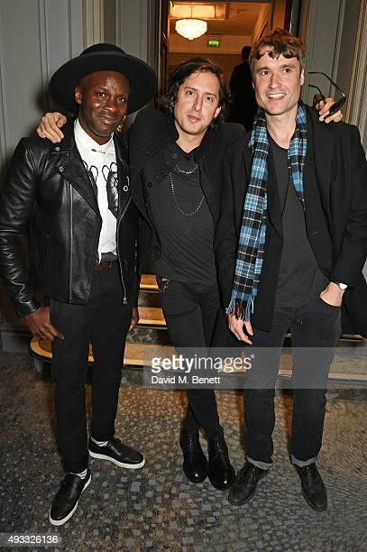 Gary Powell Carl Barat and John Hassall of The Libertines attend The Q Awards drinks reception at The Grosvenor House Hotel on October 19 2015 in...