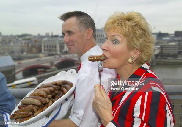 Gary Rhodes and Christine Hamilton during Kick Off of the British Sausage Week 2006 with a Bank at Bankside Lofts in London Great Britain