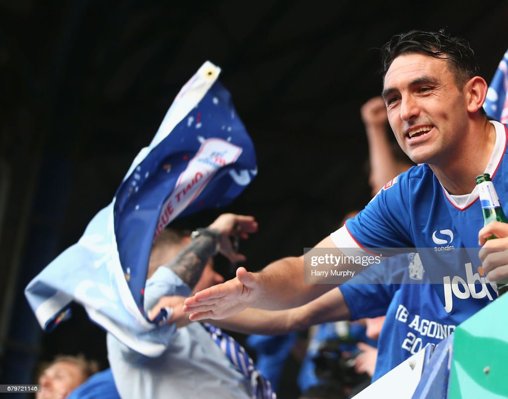 Gary Roberts of Portsmouth celebrates after the Sky Bet League Two match between Portsmouth and Cheltenham Town at Fratton Park on May 6, 2017 in Portsmouth, England.