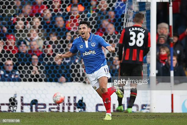Gary Roberts of Portsmouth celebrates scoring his team's first goal during the Emirates FA Cup Fourth Round match between Portsmouth and AFC...