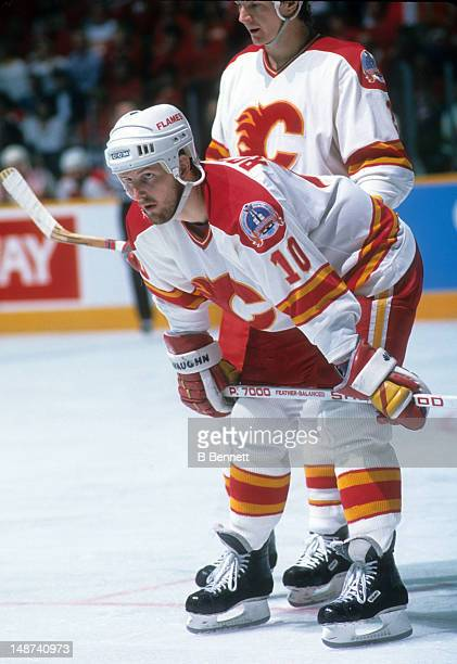 Gary Roberts of the Calgary Flames waits for the faceoff during the 1989 Stanley Cup Finals against the Montreal Canadiens in May 1989 at the Olympic...