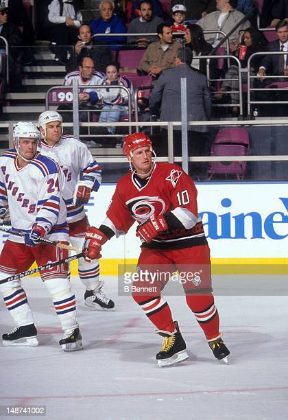 Gary Roberts of the Carolina Hurricanes skates on the ice during an NHL game against the New York Rangers on October 20 1997 at the Madison Square...