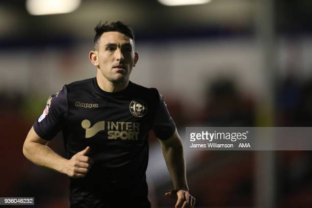 Gary Roberts of Wigan Athletic during the Sky Bet League One match between Wigan Athletic and Walsall at Banks' Stadium on March 23 2018 in Walsall...