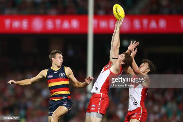 Gary Rohan ans Oliver Florent of the Swans attempt a mark during the round five AFL match between the Sydney Swans and the Adelaide Crows at Sydney...
