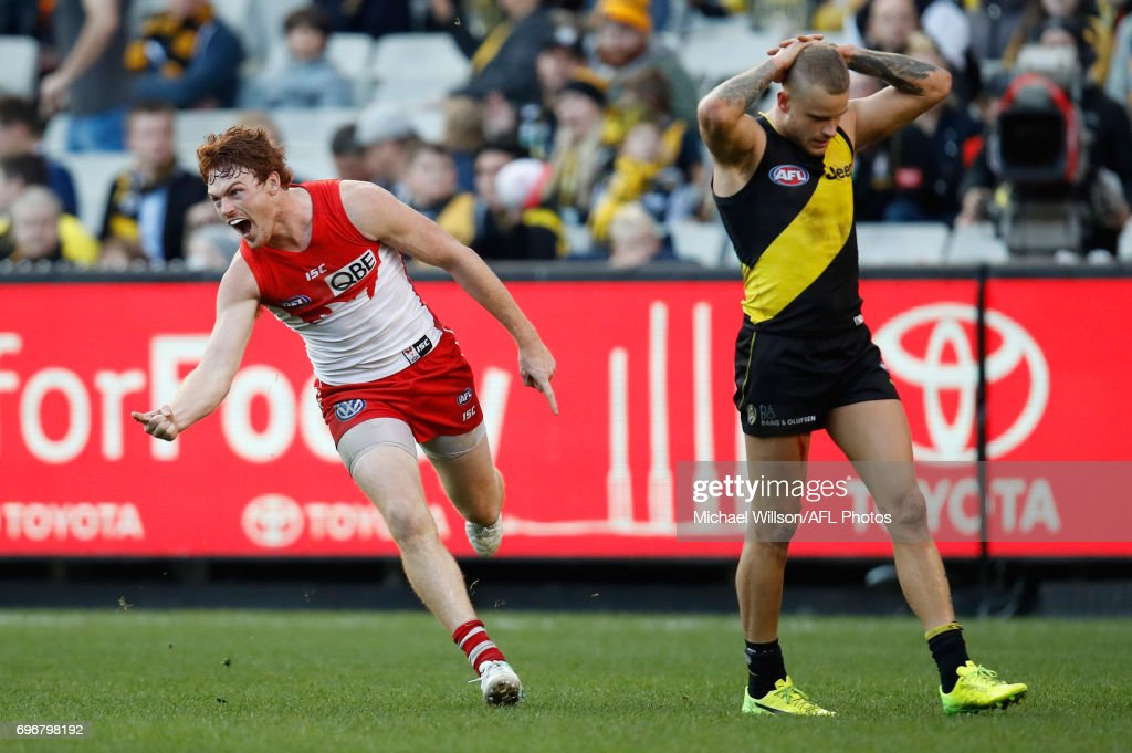 Gary Rohan of the Swans celebrates during the 2017 AFL round 13 match between the Richmond Tigers and the Sydney Swans at the Melbourne Cricket Ground on June 17, 2017 in Melbourne, Australia.
