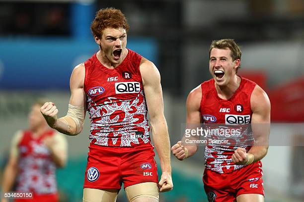 Gary Rohan of the Swans celebrates kicking a goal during the round 10 AFL match between the Sydney Swans and the North Melbourne Kangaroos at Sydney...
