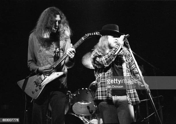 Gary Rossington and Ronnie Van Zant of Lynyrd Skynyrd performing on stage at Hammersmith Odeon London 15 February 1976