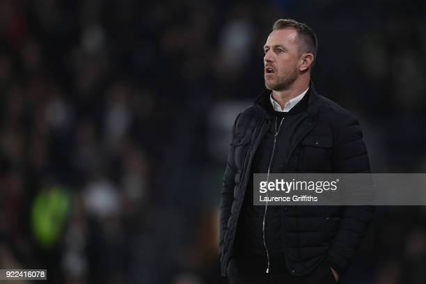 Gary Rowett manager of Derby County looks on during the Sky Bet Championship match between Derby County and Leeds United at iPro Stadium on February...