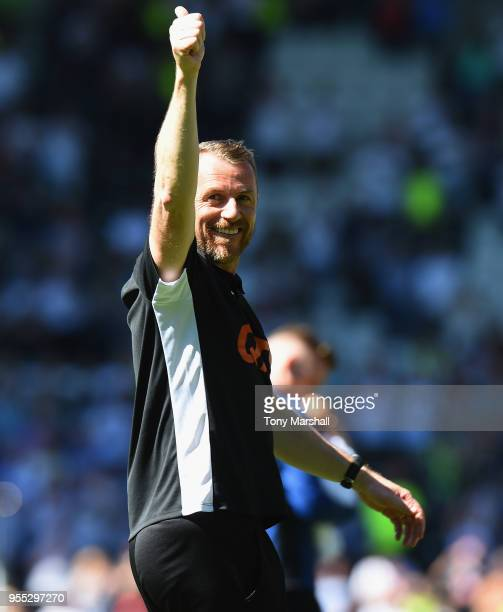 Gary Rowett, Manager of Derby County shows his appreiation to the fans during the Sky Bet Championship match between Derby County and Barnsley at...