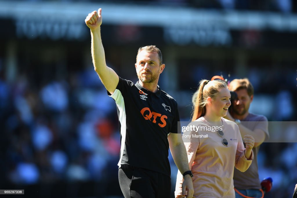 Gary Rowett, Manager of Derby County shows his appreiation to the fans during the Sky Bet Championship match between Derby County and Barnsley at iPro Stadium on May 6, 2018 in Derby, England.