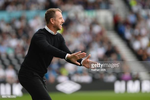 Gary Rowett manager of Derby gives instructions during the Sky Bet Championship match between Derby County and Wolverhampton at iPro Stadium on...