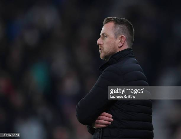Gary Rowett of Derby County looks on during the Sky Bet Championship match between Derby County and Leeds United at iPro Stadium on February 21 2018...