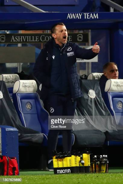 Gary Rowett of Millwall FC reacts during the Sky Bet Championship match between Queens Park Rangers and Millwall at The Kiyan Prince Foundation...
