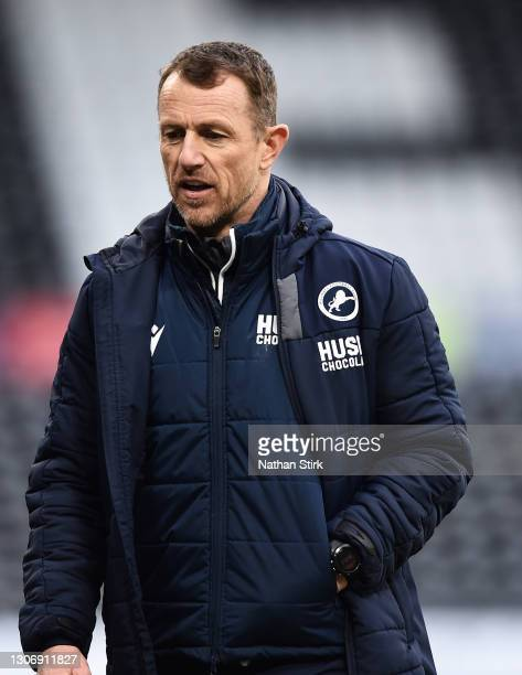 Gary Rowett of Millwall FC walks of the pitch during the Sky Bet Championship match between Derby County and Millwall at Pride Park Stadium on March...
