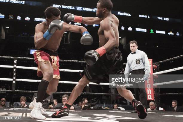Gary Russell defeats Andrew Rodgers by 5th round TKO in their Super Lightweight fight n at Barclays Center on April 21 2018 in Brooklyn