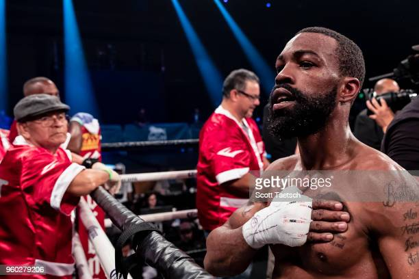 Gary Russell Jr reacts after the WBC featherweight title bout against Joseph Diaz Jr on May 19 2018 in Oxon Hill Maryland Russell won by unanimous...