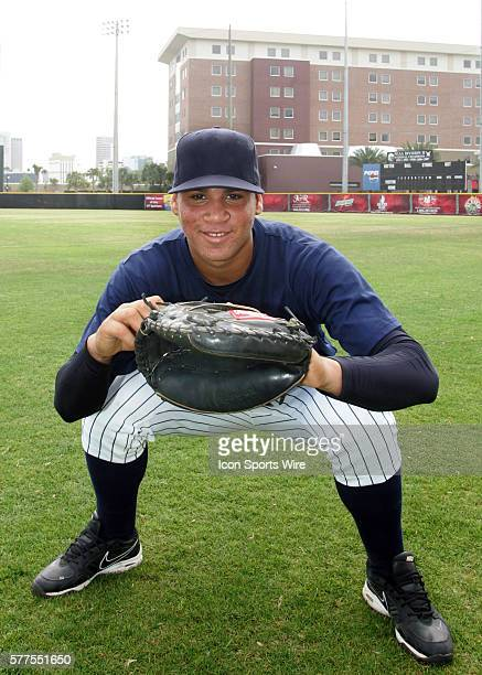 Gary Sanchez a 16 year old catcher from Villa Mella Santo Domingo of the Dominican Republic works out for numerous MLB baseball scouts at The...