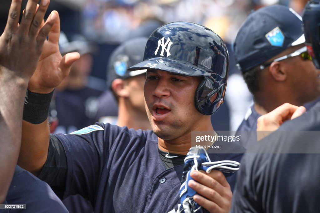 Gary Sanchez #24 of the New York Yankees after scoring a run during the spring training game between the New York Yankees and the Miami Marlins at George M. Steinbrenner Field on March 18, 2018 in Tampa, Florida.