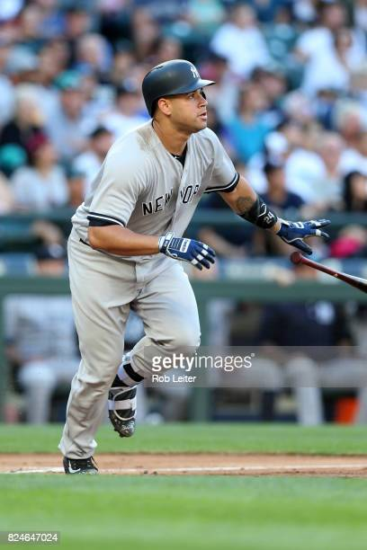Gary Sanchez of the New York Yankees bats during the game against the Seattle Mariners at Safeco Field on July 22 2017 in Seattle Washington The...