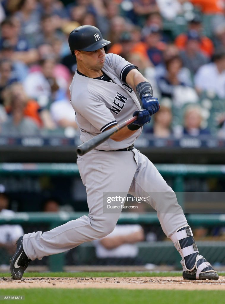 Gary Sanchez #24 of the New York Yankees hits a two-run home run against the Detroit Tigers during the first inning at Comerica Park on August 22, 2017 in Detroit, Michigan.
