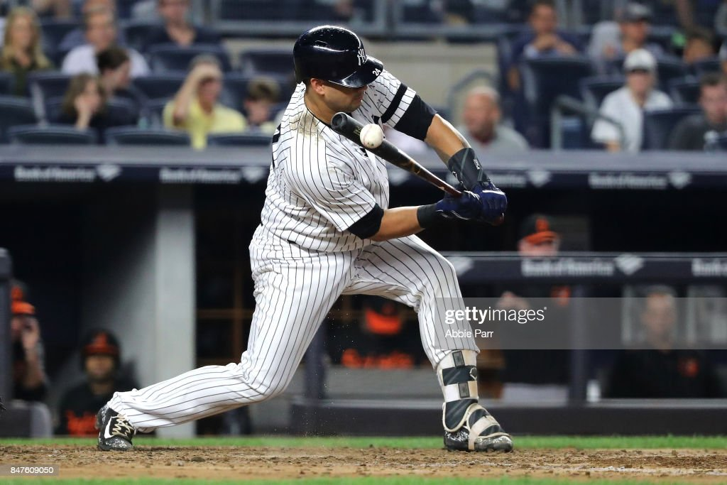 Gary Sanchez #24 of the New York Yankees hits what would be a ground out in the in the fifth inning on September 15, 2017 at Yankee Stadium in the Bronx borough of New York City.