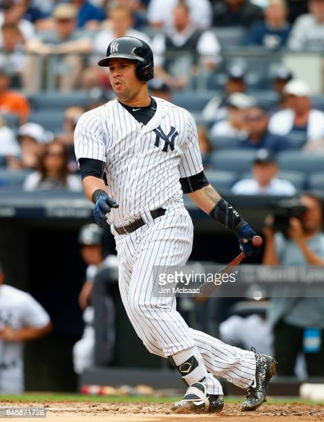 Gary Sanchez of the New York Yankees in action against the Boston Red Sox at Yankee Stadium on September 2 2017 in the Bronx borough of New York City...
