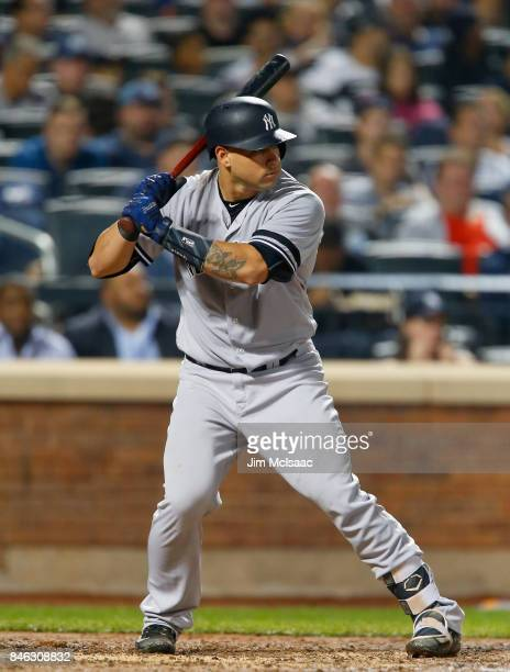 Gary Sanchez of the New York Yankees in action against the Tampa Bay Rays at Citi Field on September 12 2017 in the Flushing neighborhood of the...