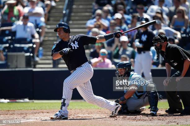 Gary Sanchez of the New York Yankees in action during a spring training game against the Tampa Bay Rays at George M Steinbrenner Field on March 04...