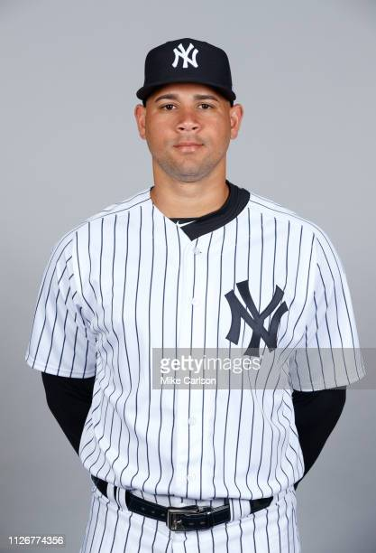 Gary Sanchez of the New York Yankees poses during Photo Day on Thursday February 21 2019 at George M Steinbrenner Field in Tampa Florida