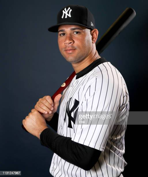 Gary Sanchez of the New York Yankees poses for a portrait during the New York Yankees Photo Day on February 21 2019 at George M Steinbrenner Field in...